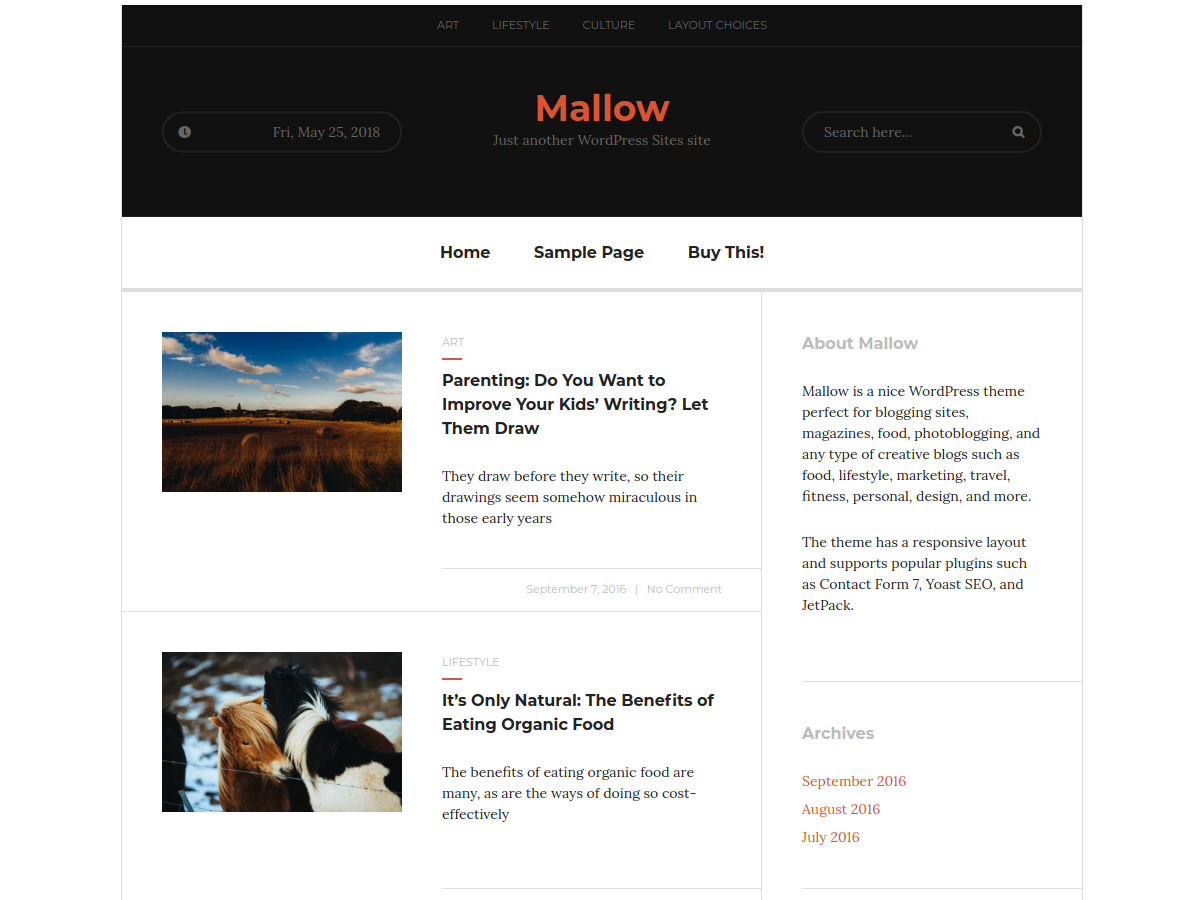 Mallow Download Free Wordpress Theme 1