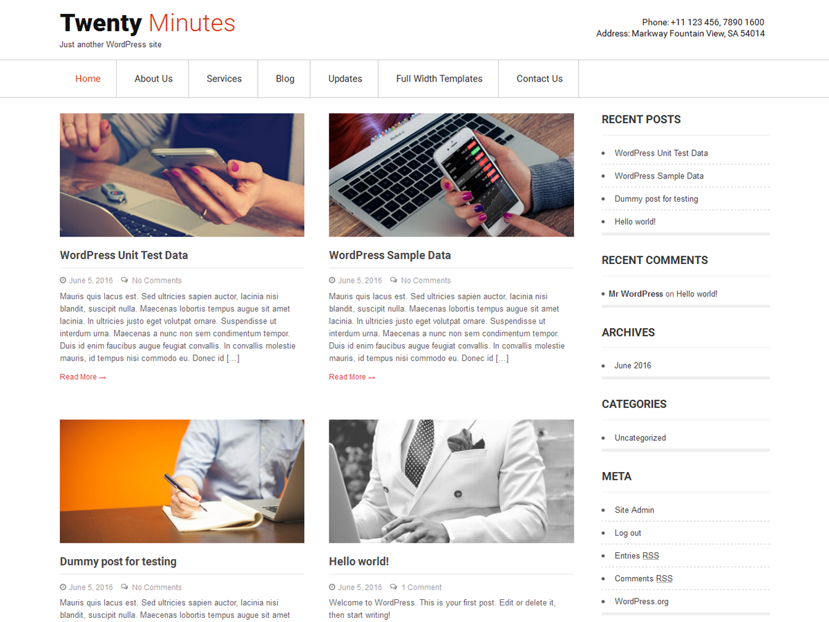 Twenty Minutes Download Free Wordpress Theme 5