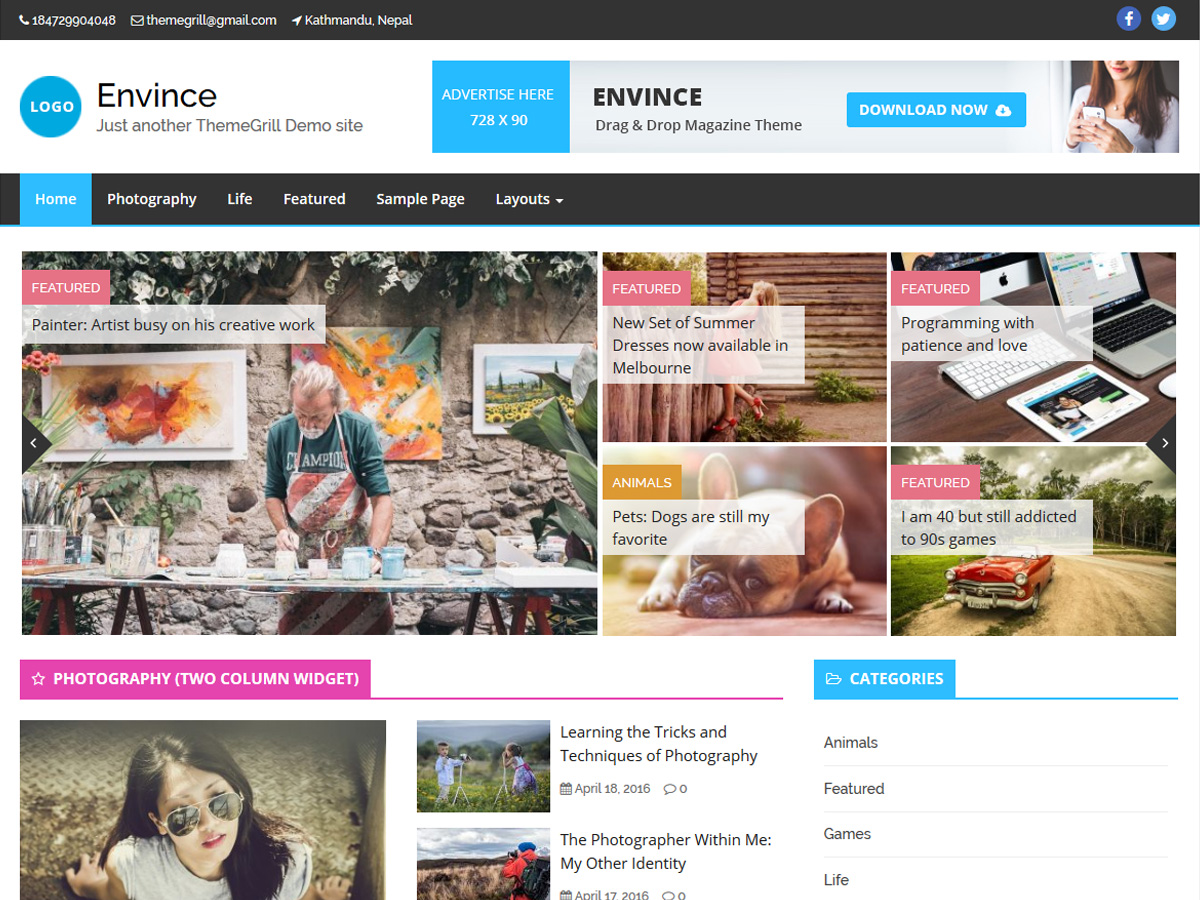 Envince Download Free Wordpress Theme 1