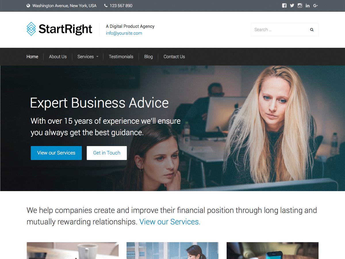 StartRight Download Free Wordpress Theme 5