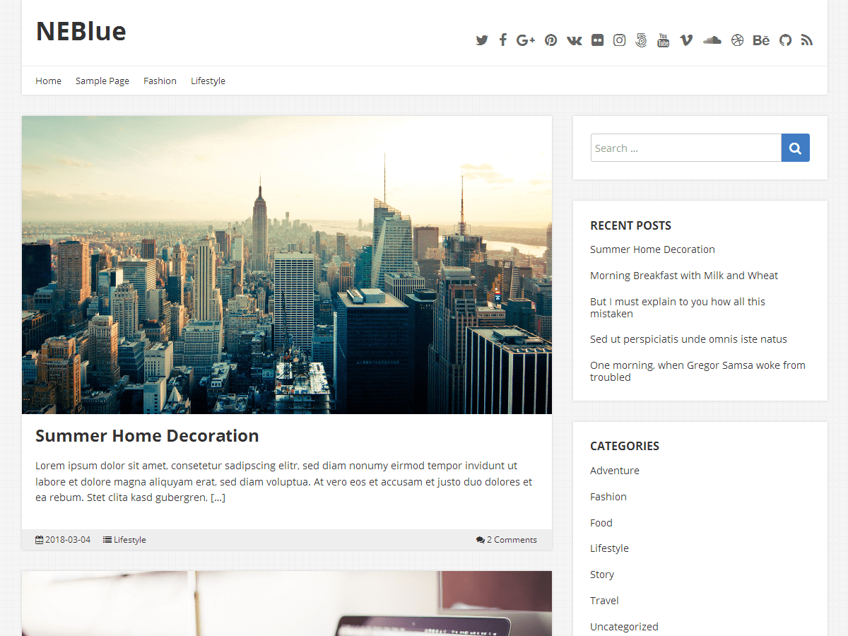 NEBlue Download Free Wordpress Theme 2