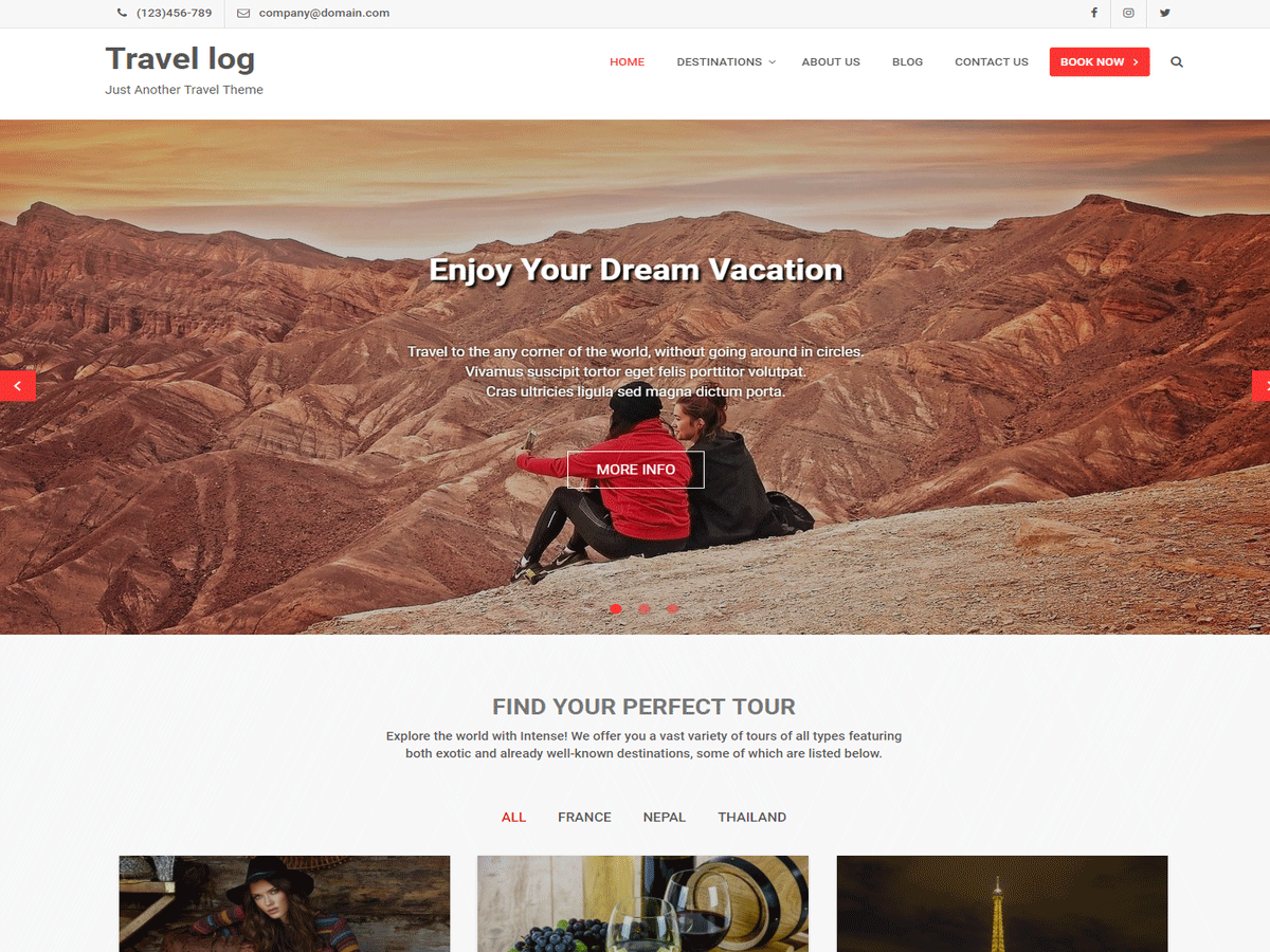 Travel Log Download Free Wordpress Theme 1