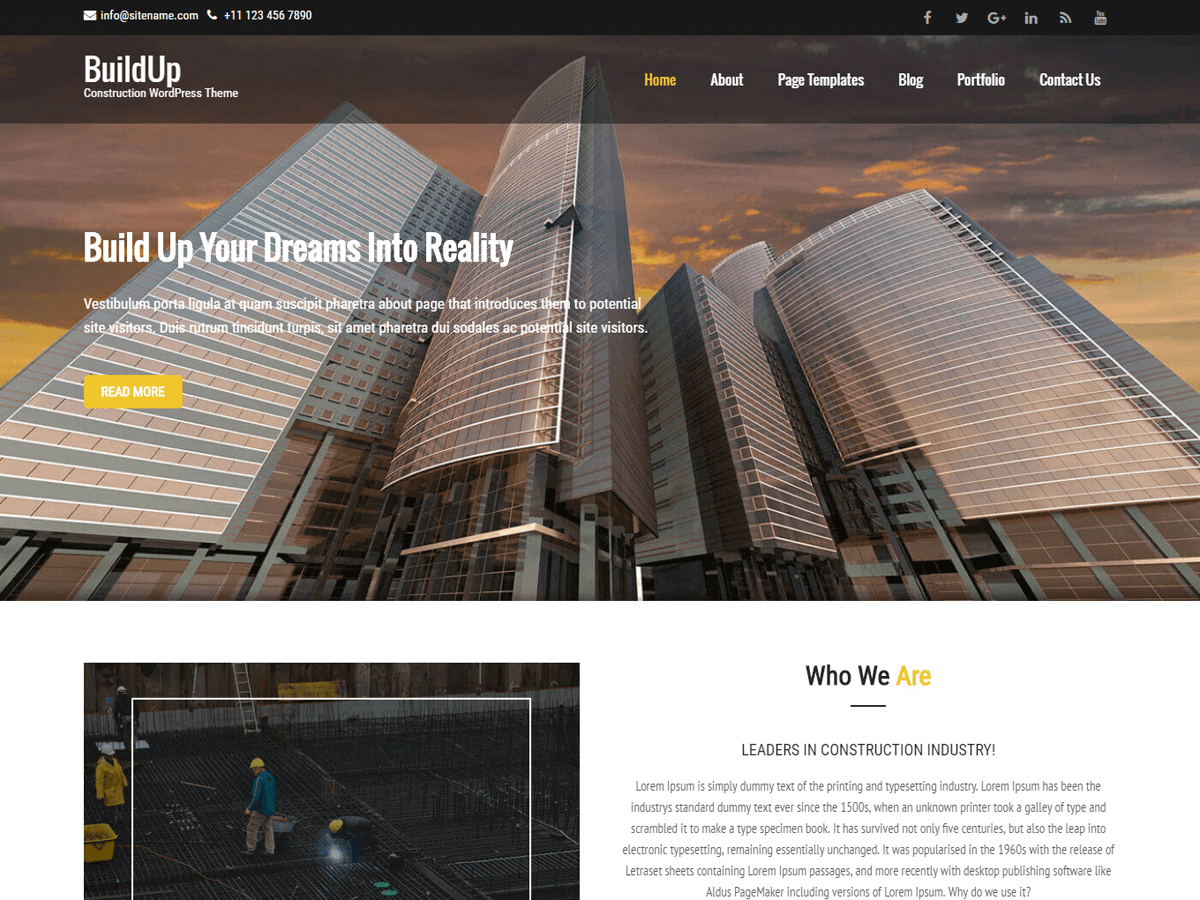 Buildup Download Free Wordpress Theme 1