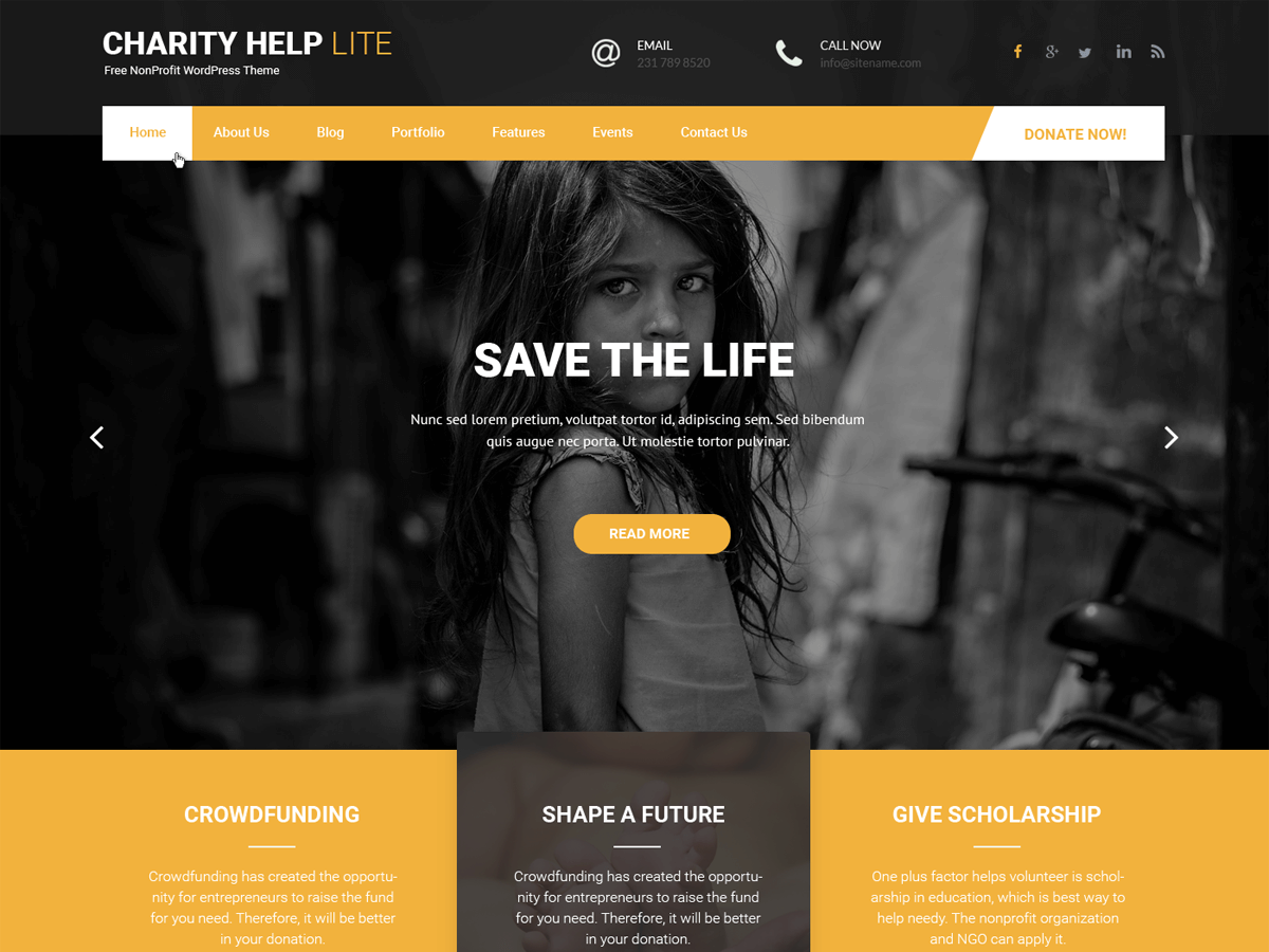 Charity Help Lite Download Free Wordpress Theme 3