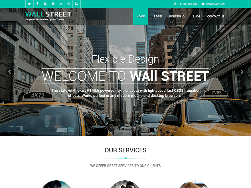 Wallstreet Light Download Free Wordpress Theme 1