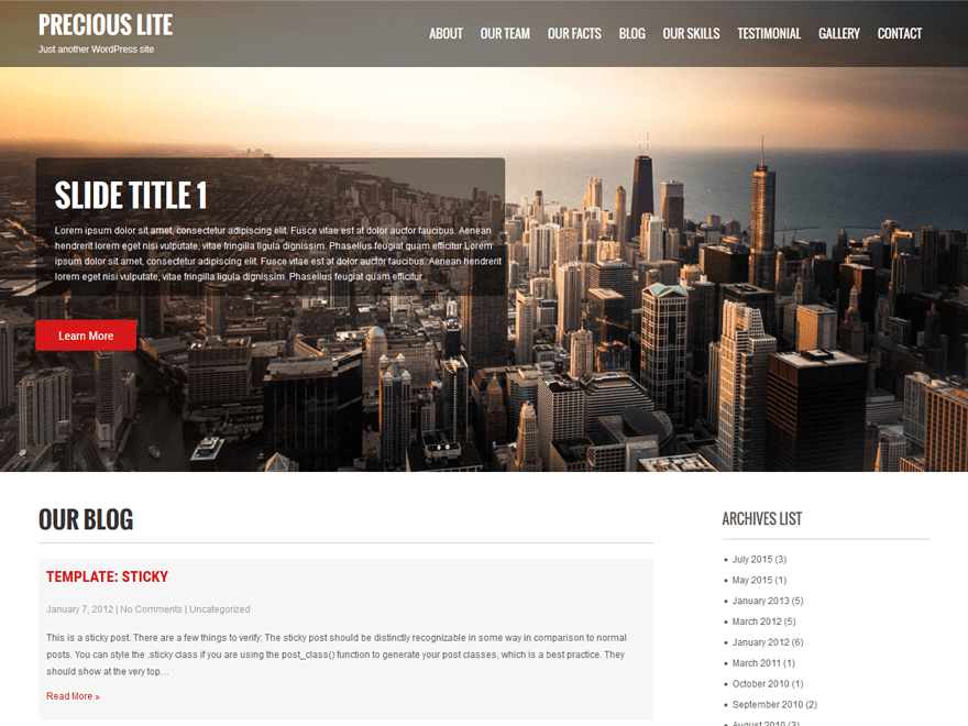 Precious Lite Download Free Wordpress Theme 5