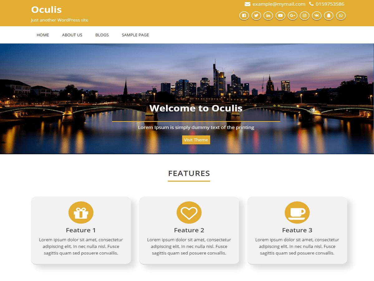 Oculis Download Free Wordpress Theme 2