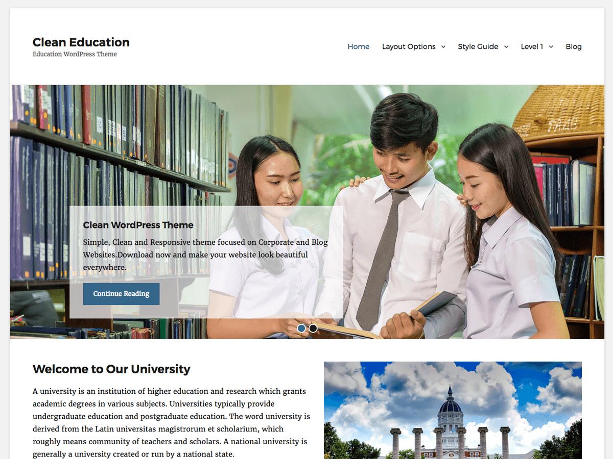 Clean Education Download Free Wordpress Theme 1