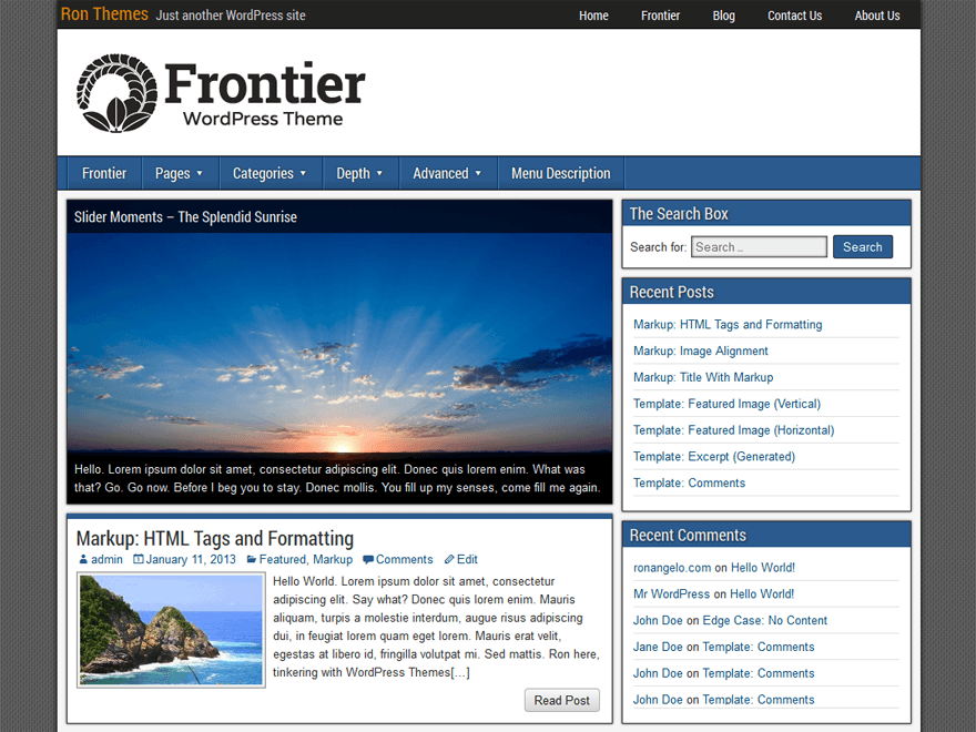 Frontier Download Free Wordpress Theme 4