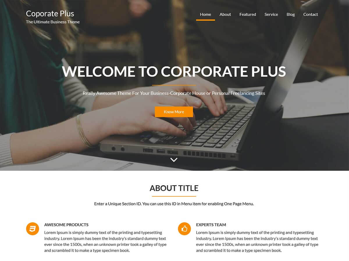 Corporate plus Download Free Wordpress Theme 4
