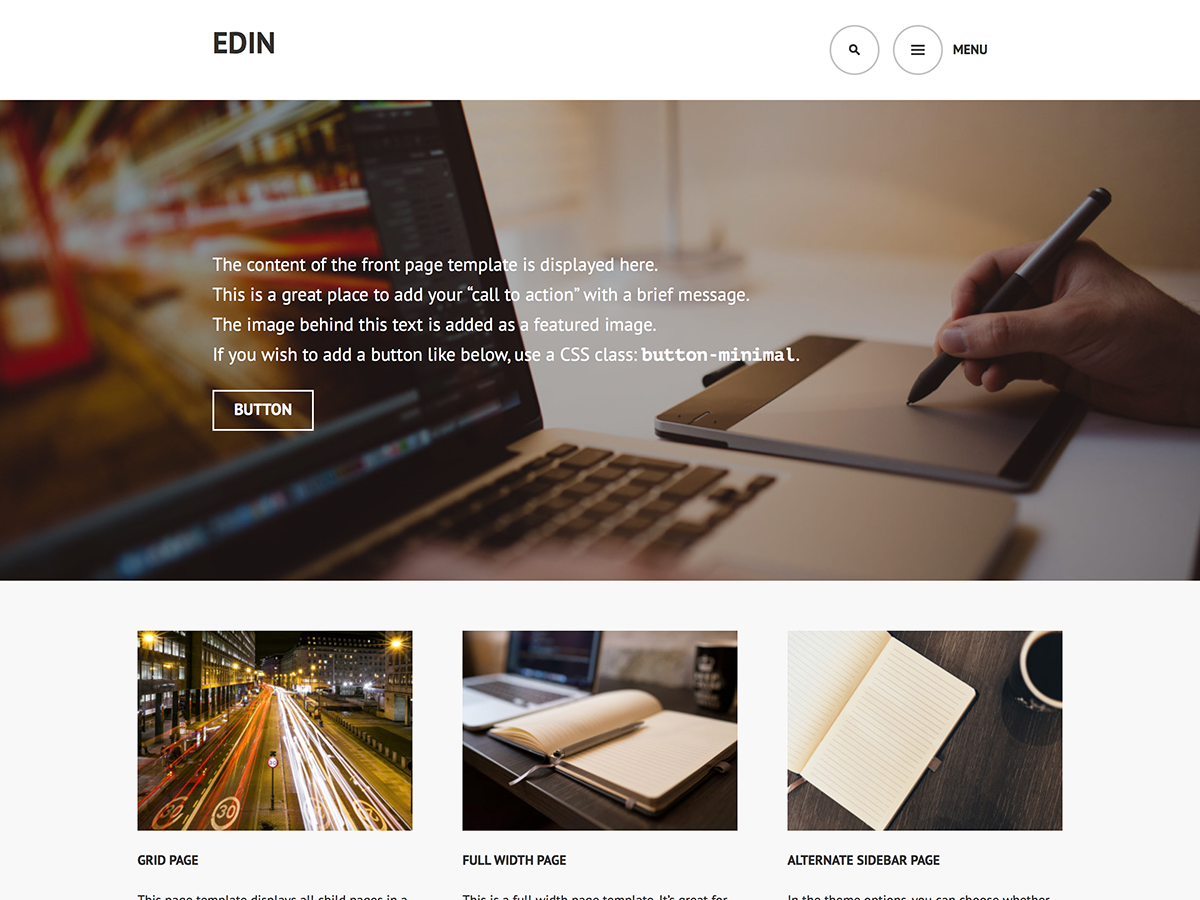 Edin Download Free Wordpress Theme 2
