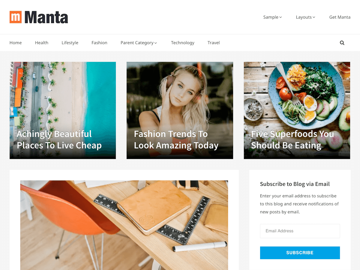 Manta Download Free Wordpress Theme 2