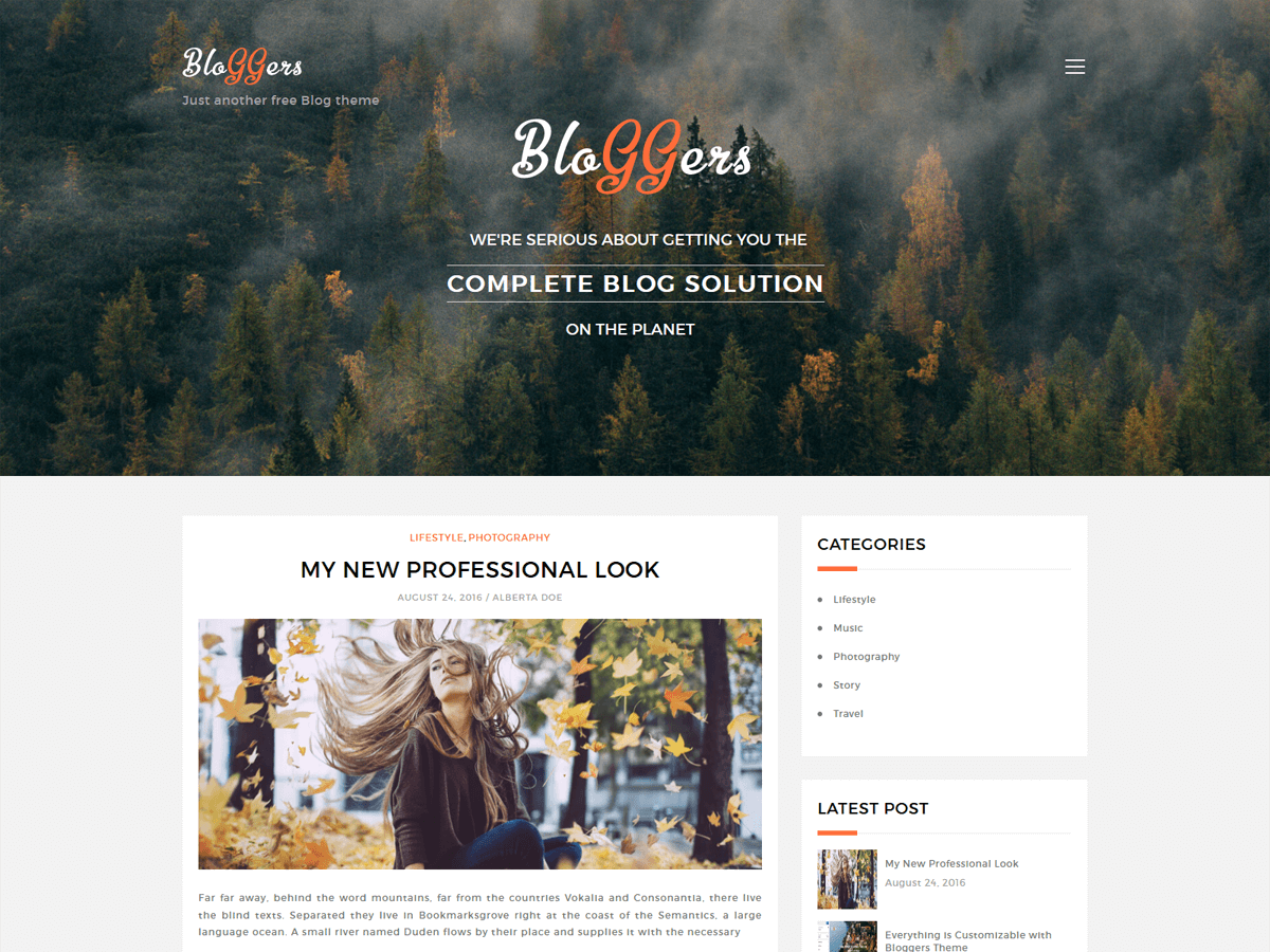 Bloggers Lite Download Free Wordpress Theme 2