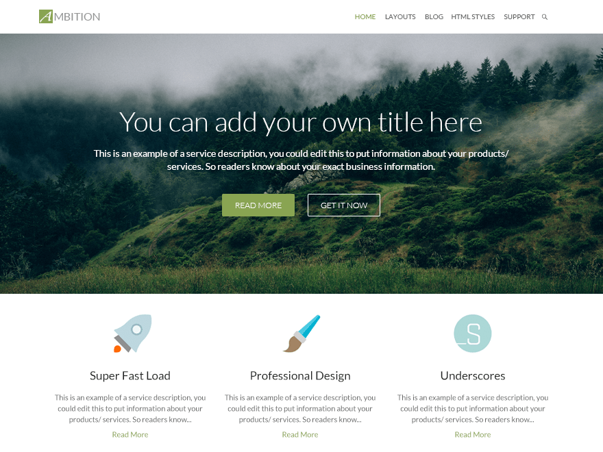 Ambition Download Free Wordpress Theme 1
