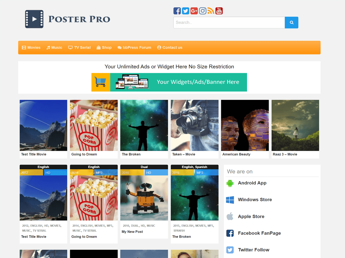Poster Download Free Wordpress Theme 1