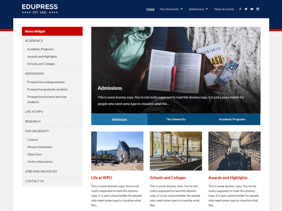EduPress Download Free Wordpress Theme 1