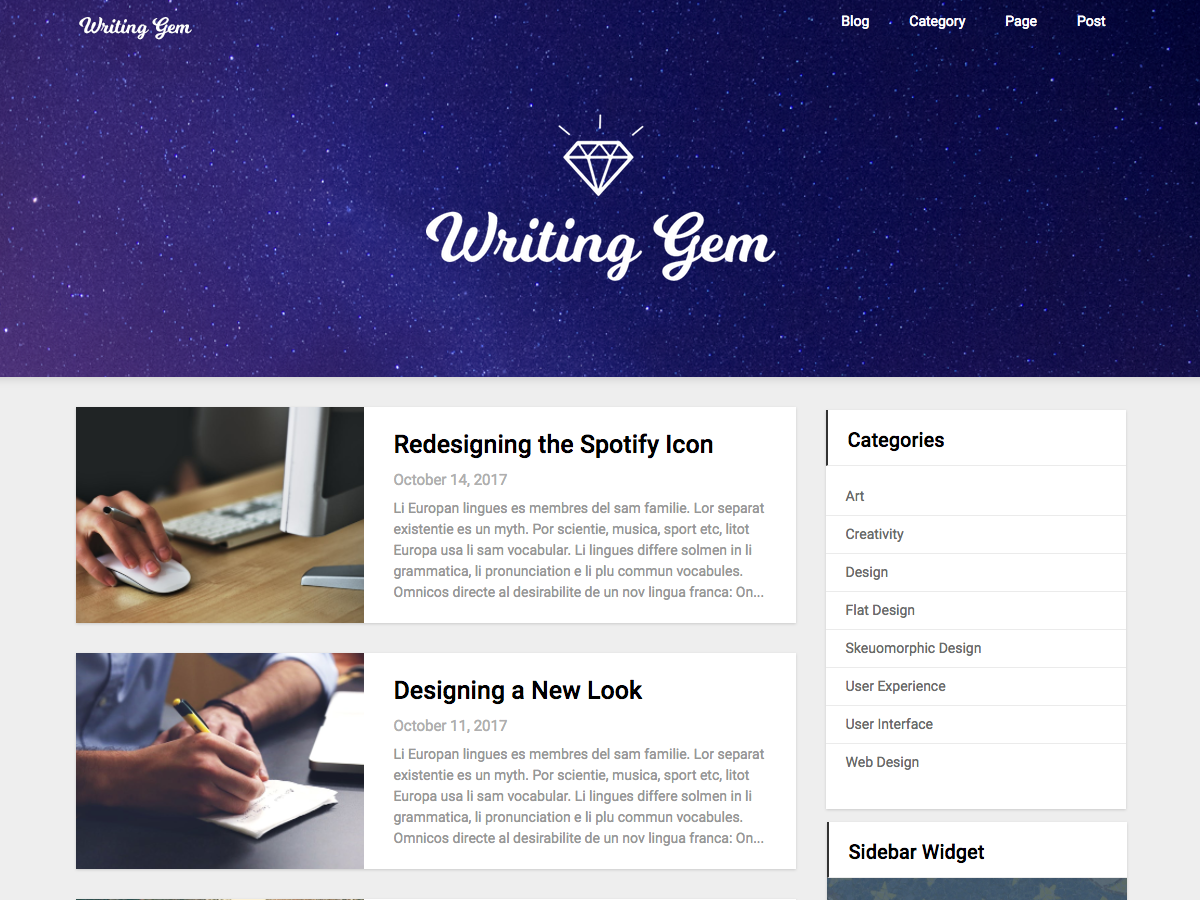 Writing Gem Download Free Wordpress Theme 1