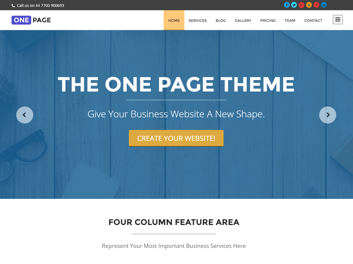 One Page Download Free Wordpress Theme 1