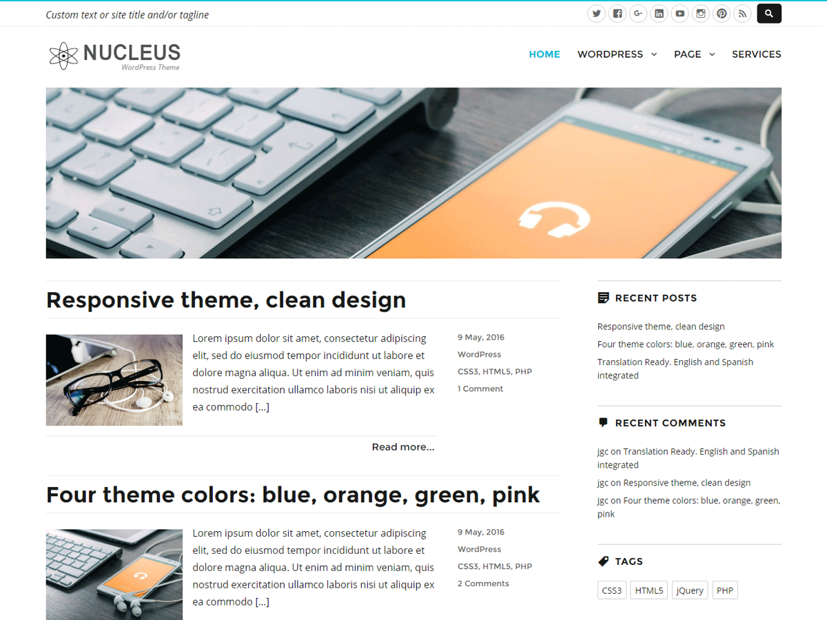 Nucleus Download Free Wordpress Theme 2
