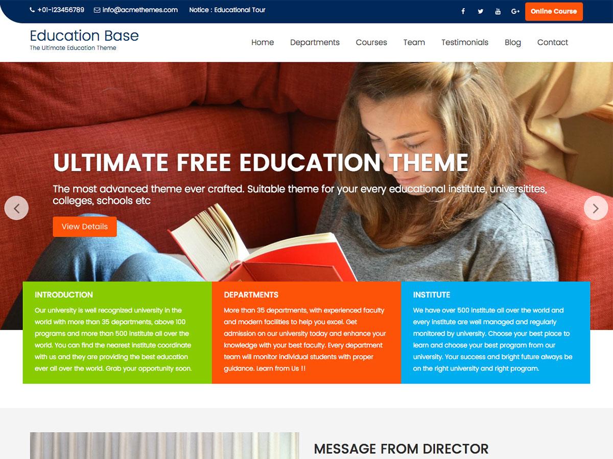 Education Base Download Free Wordpress Theme 2