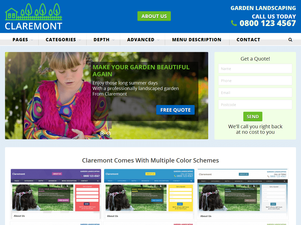 Claremont Download Free Wordpress Theme 4