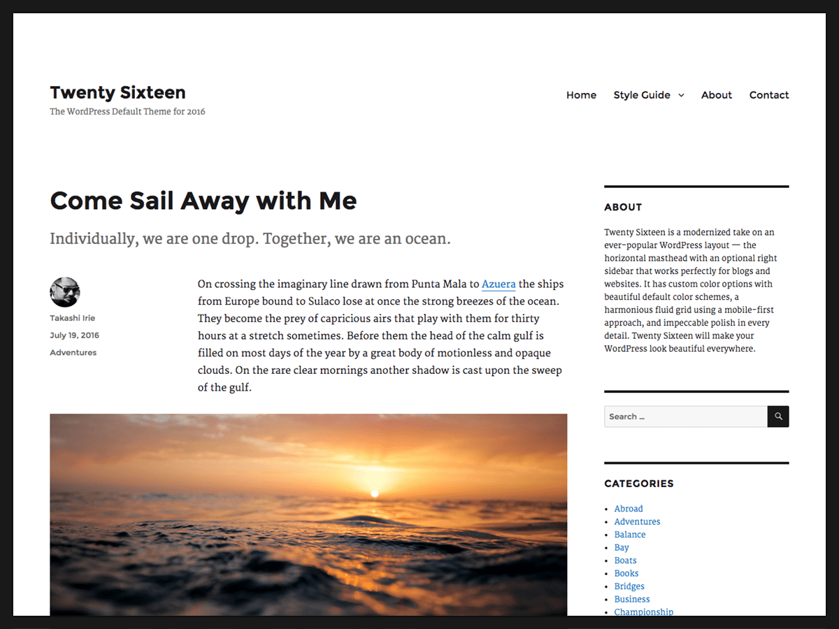 Twenty Sixteen Download Free Wordpress Theme 1