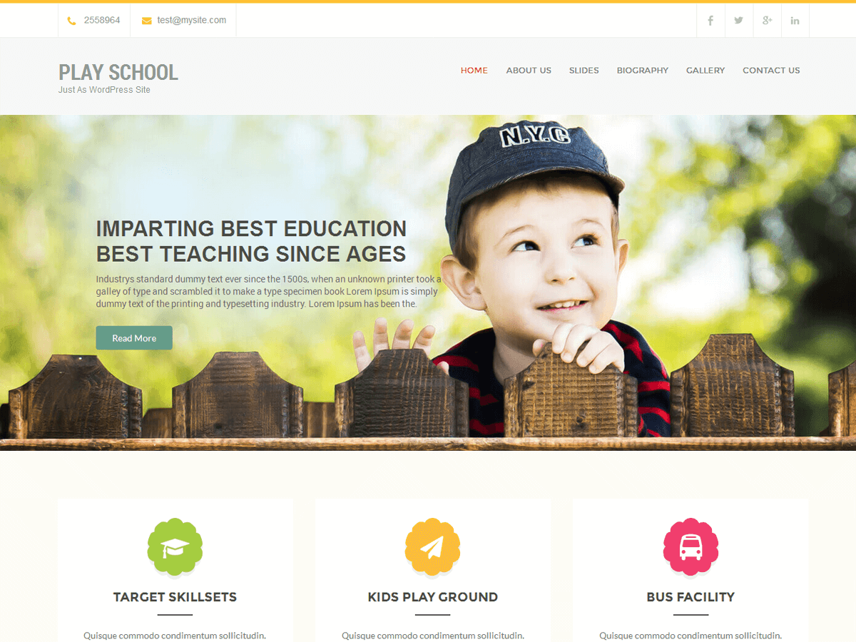 Play School Download Free Wordpress Theme 4