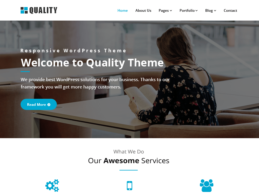 Quality blue Download Free Wordpress Theme 4