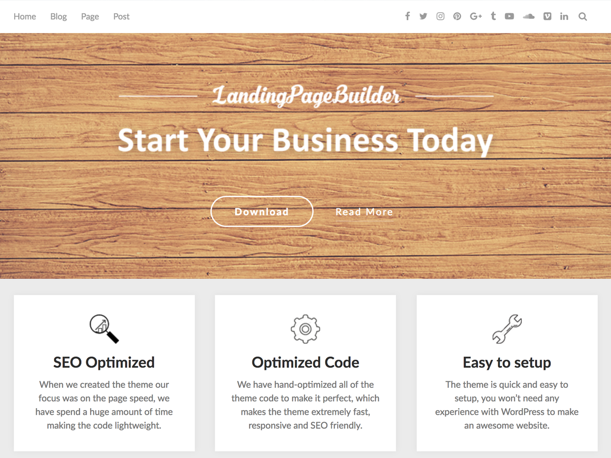 LandingPageBuilder Download Free Wordpress Theme 2