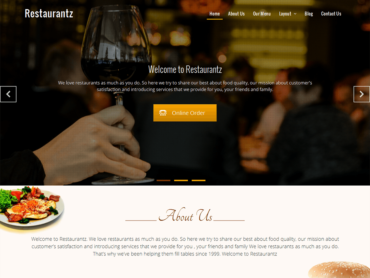 Restaurantz Download Free Wordpress Theme 2