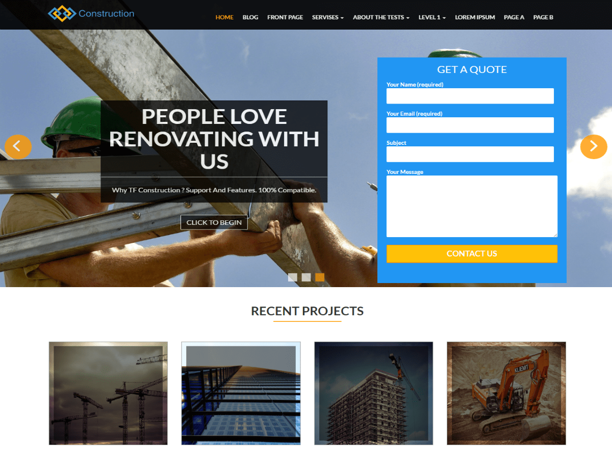 TF Construction Download Free Wordpress Theme 1