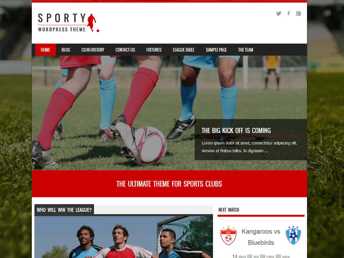 Sporty Download Free Wordpress Theme 3