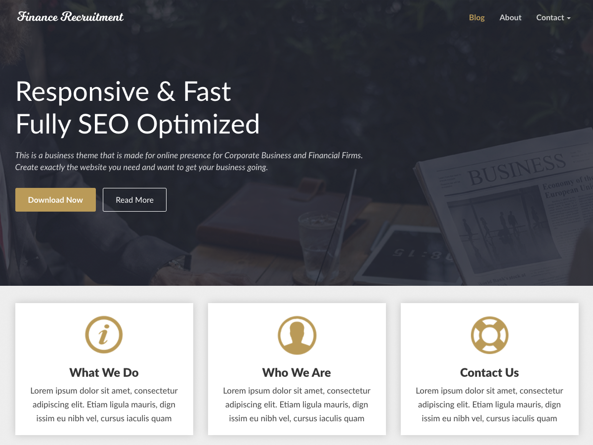 FinanceRecruitment Download Free Wordpress Theme 4
