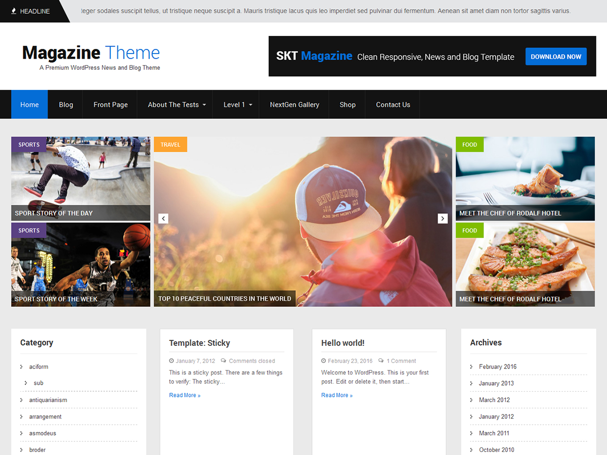 SKT Magazine Download Free Wordpress Theme 1