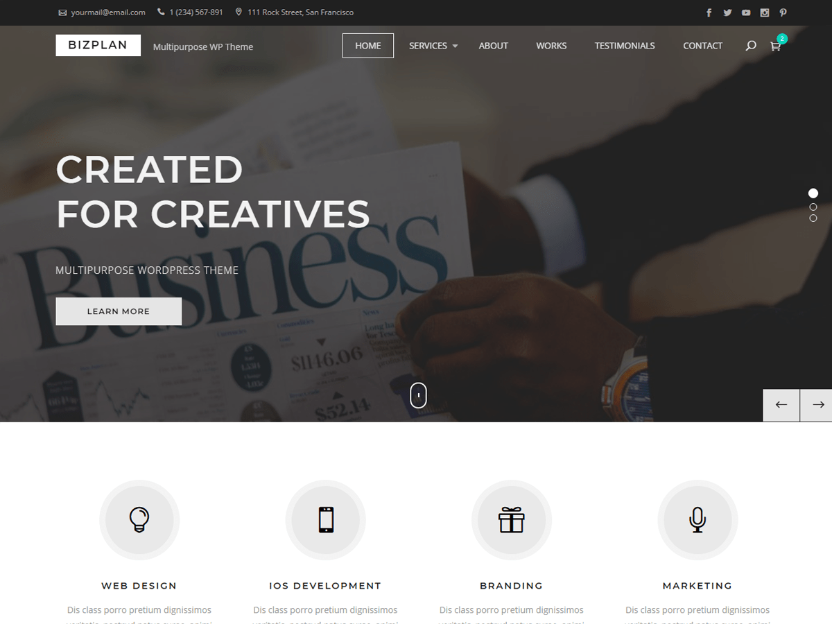 Bizplan Download Free Wordpress Theme 1