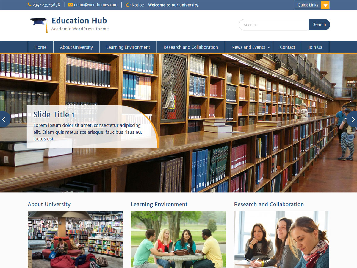 Education Hub Download Free Wordpress Theme 3