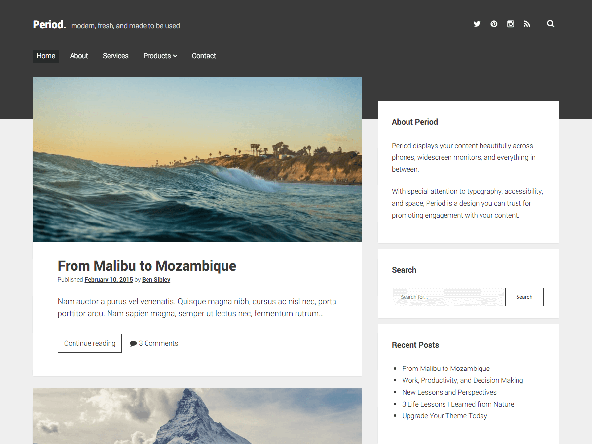 Period Download Free Wordpress Theme 2