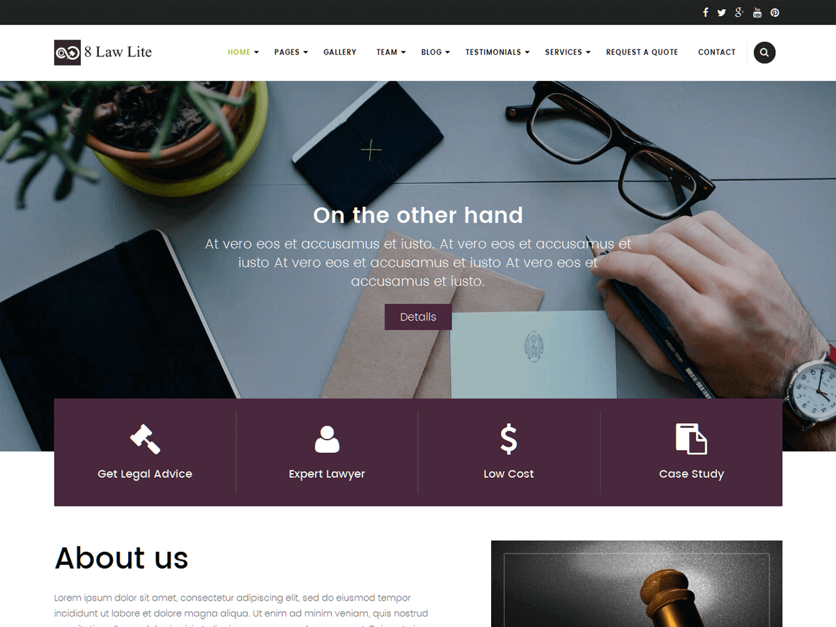 EightLaw Lite Download Free Wordpress Theme 1