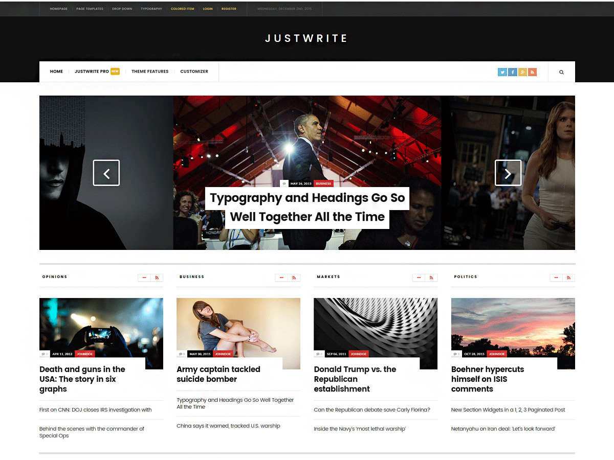 JustWrite Download Free Wordpress Theme 3