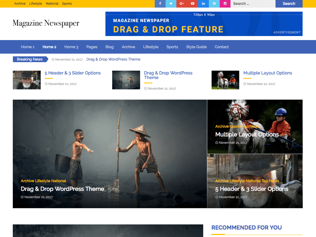 Magazine Newspaper Download Free Wordpress Theme 1