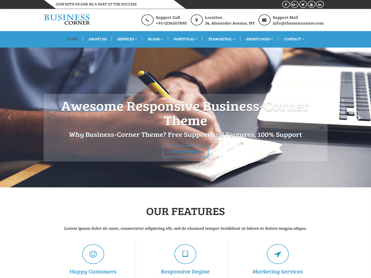 Business Corner Download Free Wordpress Theme 1