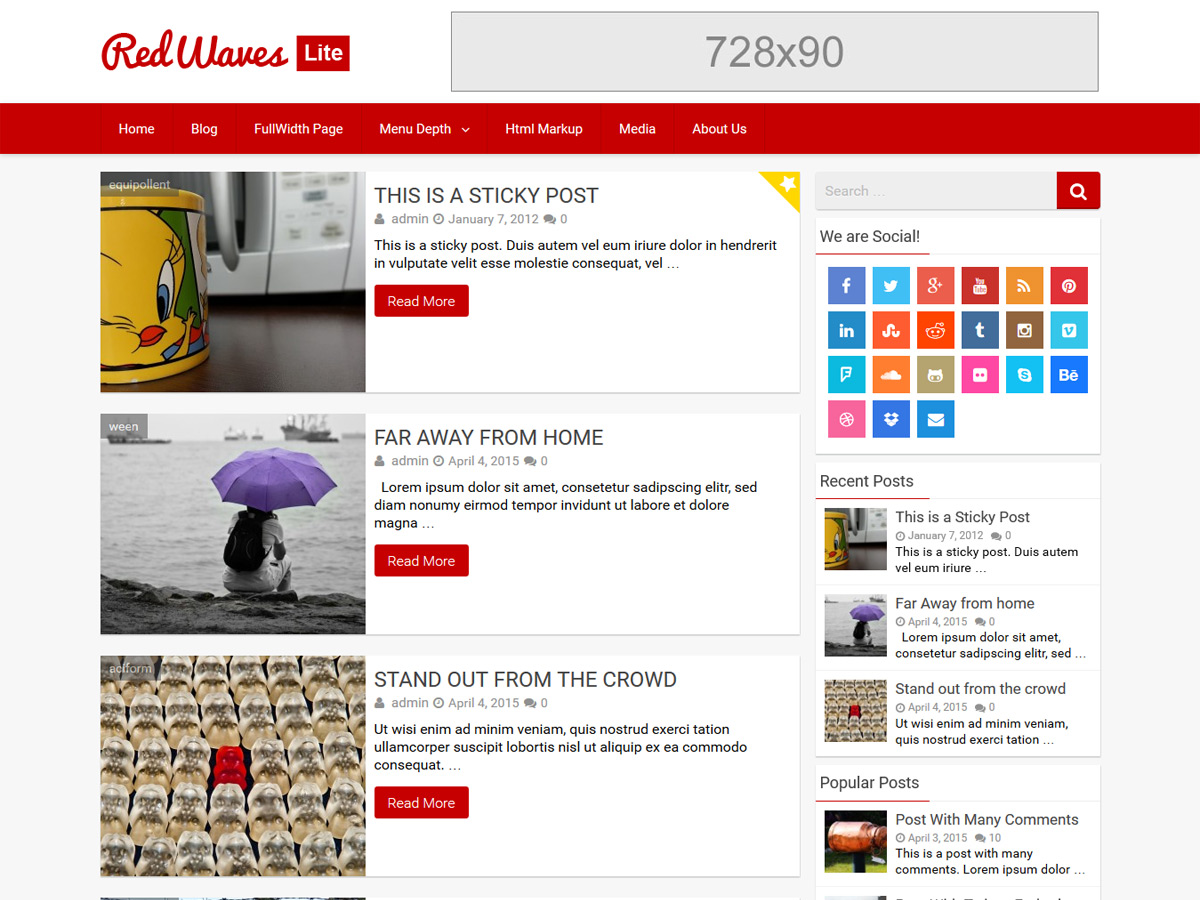 RedWaves Lite Download Free Wordpress Theme 2