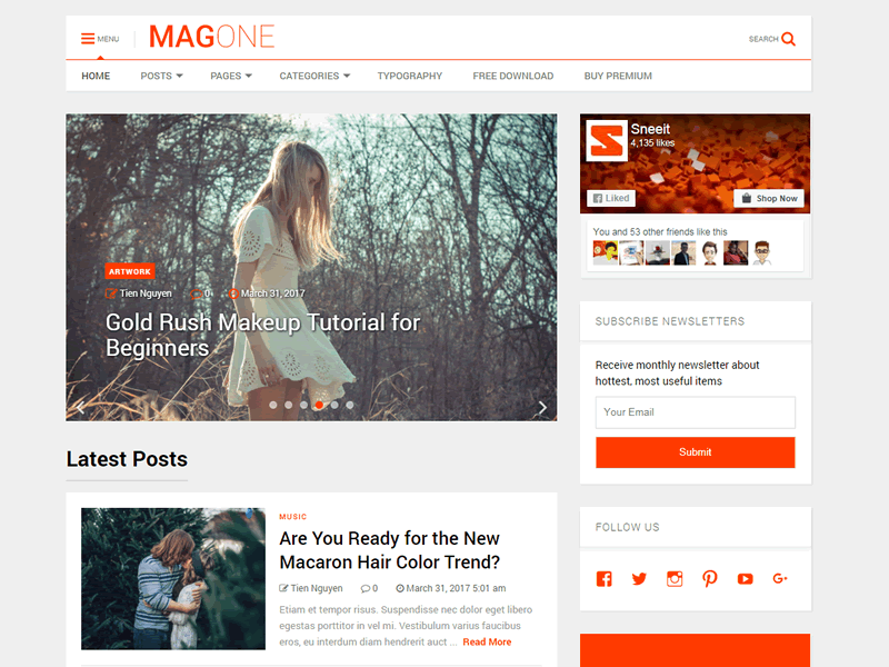 MagOne Lite Download Free Wordpress Theme 3