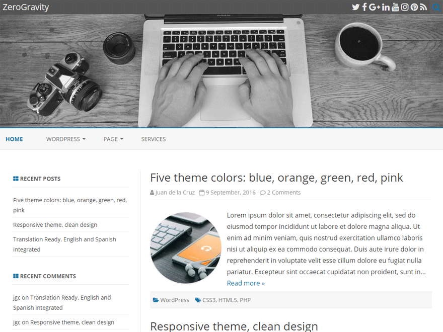 ZeroGravity Download Free Wordpress Theme 4