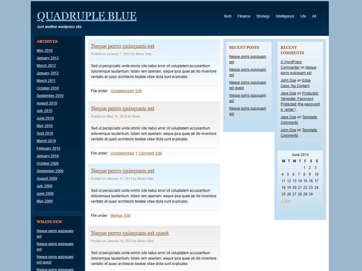 Quadruple Blue Download Free Wordpress Theme 1