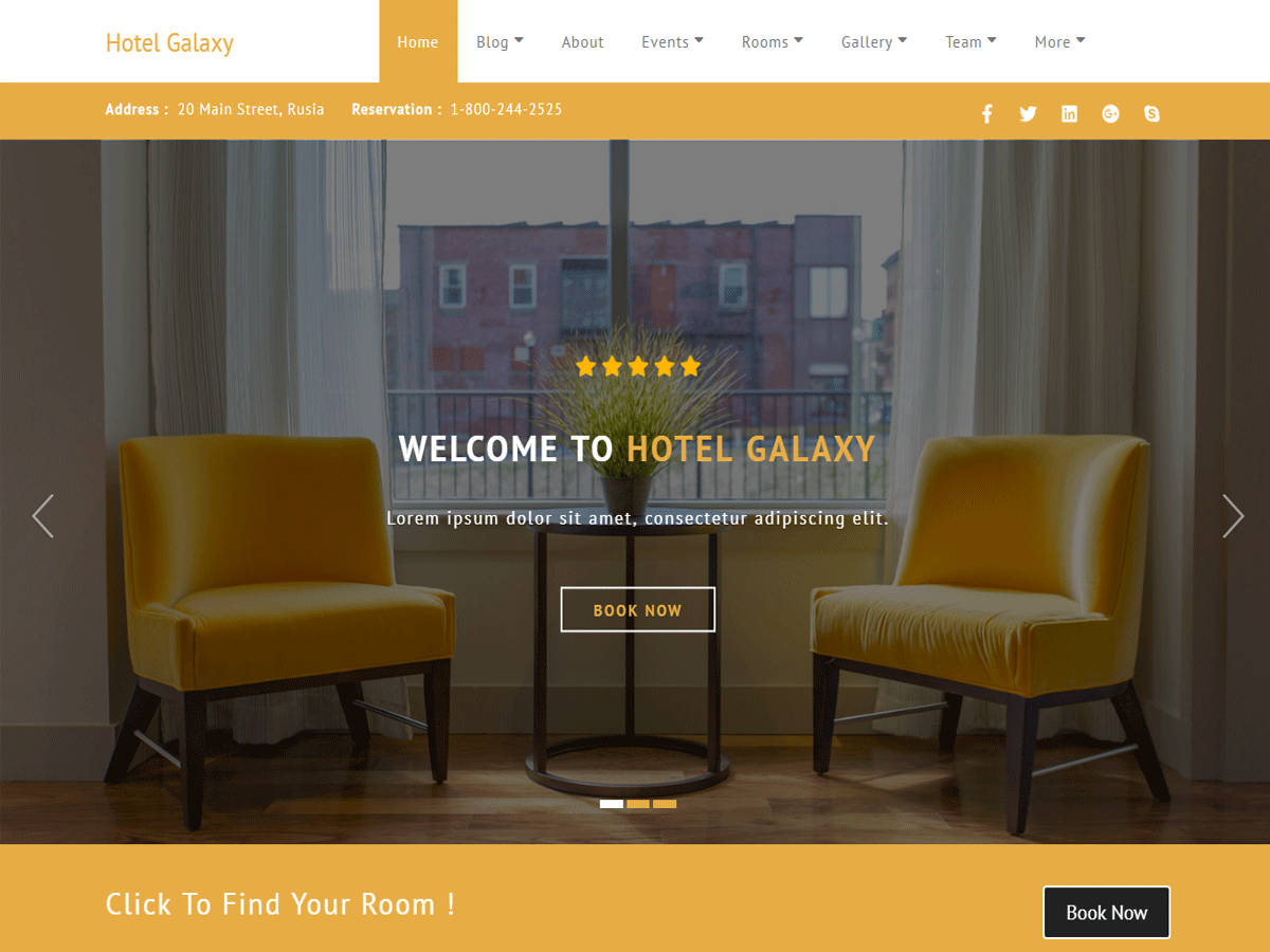 Hotel Galaxy Download Free Wordpress Theme 2