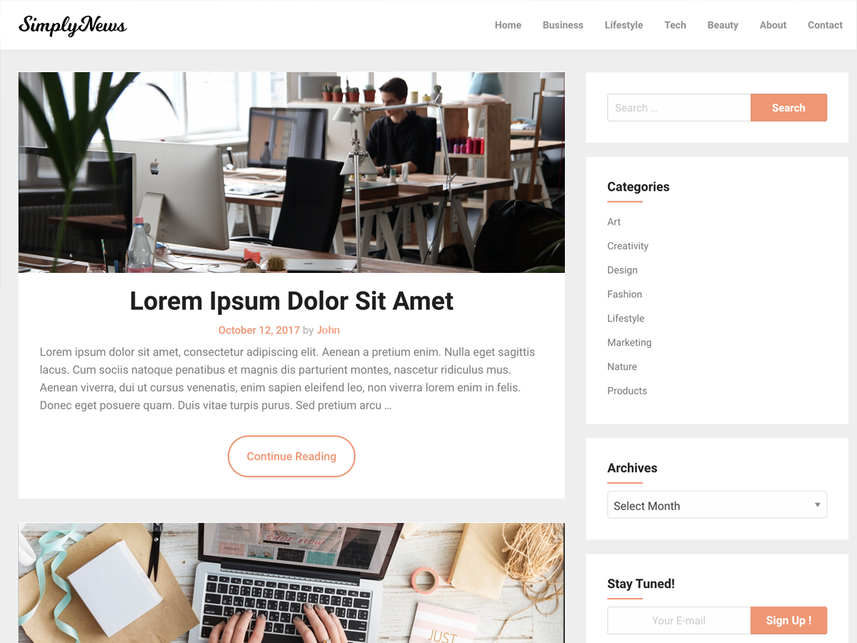 SimplyNews Download Free Wordpress Theme 4