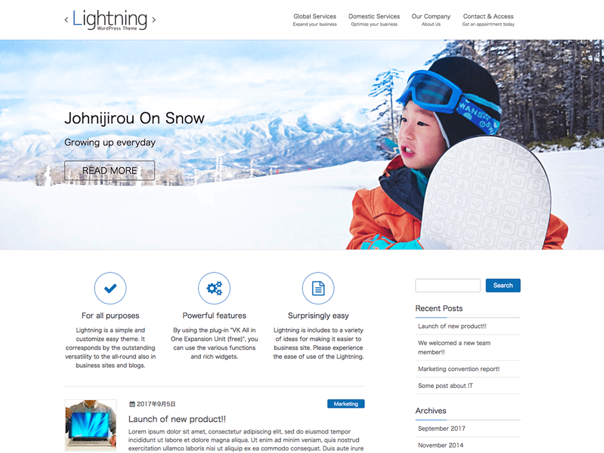 Lightning Download Free Wordpress Theme 3